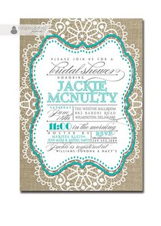 Lace Bridal Shower Invitation Linen Burlap Tiffany Blue Vintage Rustic Wedding Invite Teal Aqua