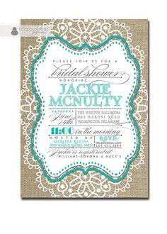 Lace Bridal Shower Invitation Linen Burlap Tiffany Blue Vintage Rustic Wedding Invite Teal Aqua
