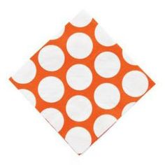 These orange polka dot napkins are sure to make your event bright and cheery. Mix and match patterns and solids for fun party decorations for any occasion! These large polka dot napkins add a fun punc