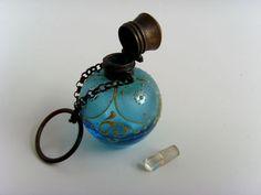 Antique Chatelaine Blue Glass Hand Painted Perfume Scent Bottle Victorian | eBay Lalique Perfume Bottle, Perfume Atomizer, Antique Perfume Bottles, Vintage Bottles, Beautiful Perfume, Glass Bottles, Making Ideas, Vintage Ephemera, Hand Painted