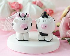 Cow Wedding Cake Topper-Animal Farm-Funny-Bride-Groom-Handmade Cold Porcelain-Custom