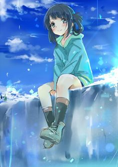 cute Anime girl on cliff with good mood (turquoise) drawings Art sketch