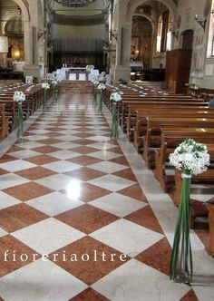 Fioreria Oltre/ Wedding ceremony/ Church wedding flowers/ Aisle decoration… Church Wedding Flowers, Church Weddings, Wedding Ceremonies, Kirchen, Flower Arrangements, Wedding Ideas, Table Decorations, Outdoor, Home Decor