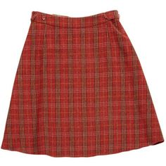 Pre-owned Paul Smith Wool Mid-Length Skirt ($160) ❤ liked on Polyvore featuring skirts, red, women clothing skirts, plaid skater skirt, woolen skirt, zip skirt, red wool skirt and wool skirt