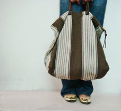 Oversized Striped Canvas Tote Bag Leather by FaiLovesFashion, $58.00