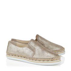 Gold Coarse Metallic Suede Slip On Espadrilles   Dawn   Spring Summer 15   JIMMY CHOO Shoes