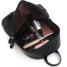 cacd29f7bb26 PU Leather Backpack Women Black Wateproof Rucksack Female School Bags  Mochila Escolar Teenager Girls Sac A