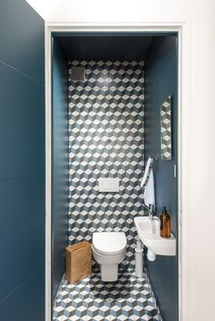 graphic toilets in hague blue @farrowandball - Ilaria Fatone