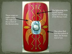 Some shields would also come with a wreath. The wreath symbolises Victory. Roman emperors would wear a wreath rather than ...