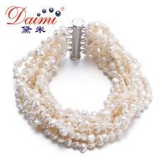 DAIMI 2017 New 4-5 mm Genuine Baroque Pearl Bracelets Fine Jewelry 4 Color Multiple layers Bracelet For Woman Factory Wholesale