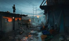Sunset in the slums by Rostislav Zagornov. (via ArtStation - Sunset in the slums, Rostislav Zagornov) More concept art here. Cyberpunk Kunst, Cyberpunk City, Futuristic City, Matte Painting, Environment Concept Art, Environment Design, Fantasy Landscape, Fantasy Art, Slums