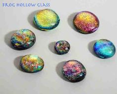Glow in the dark cabochons. Maybe a new resin idea? Rainbow & glow in the dark glitter with a black layer of glitter on the back.