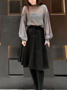 Gray Color Long Sleeve Women's Blouse