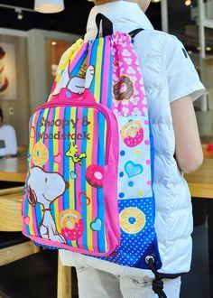 Peanutes Snoopy Drawstring Backpack w/ Front Pocket Rucksack School Bag cake is so sweet!