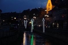 Tannenbäume über der Lamme in Bad Salzdetfurth - ganz wunderbare Weihnachtsbeleuchtung