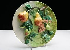 French Antique Majolica Longchamp Pears Wallhanging Plate