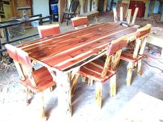 Dining Room Set- Rustic Red Cedar Hancrafted Log Furniture - BEST PRICES!!!