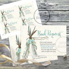 Book Request card. Original artwork. Designed to match Baby Shower TeePee…