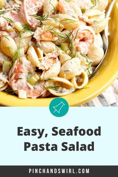 An easy recipe for the best, cold Seafood Pasta salad with crab and shrimp and crunchy celery in a creamy dressing! With capers, fresh dill, real lump crab meat, and shrimp cooked in a flavorful blend of salt (or Old Bay Seasoning) and fresh lemon. Crab Meat Recipes, Vegetarian Recipes, Cooking Recipes, Easy Summer Meals, Healthy Summer Recipes, Seafood Salad, Seafood Pasta, How To Cook Shrimp, How To Cook Pasta