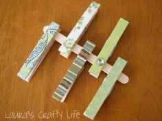 Decoupaged Clothespins - Laura's Crafty Life