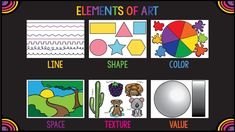Elements of Art for Elementary Students Elements Of Art Line, Elements And Principles, Art Lessons, The Creator, Students, Shapes, Texture, Youtube, International Baccalaureate