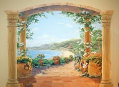 This mural was painted in a formal salon with a grand piano. The architecture of the house, located in Los Altos, CA, was based on Old California Spanish style homes. This mural echoes the special architectural elements found throughout the house. Mural Painting, Mural Art, Wall Murals, Garden Mural, Spanish Style Homes, Desktop Pictures, California Coast, Beautiful Dream, Architectural Elements