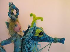 Sea Horse & Sea Imp soft sculpture dolls hanging by Kaeriefaerie52