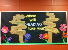 School door ideas for spring bulletin board display ideas Reading Bulletin Boards, Spring Bulletin Boards, Bulletin Board Display, Classroom Bulletin Boards, Reading Boards, Career Bulletin Boards, Elementary Bulletin Boards, Preschool Bulletin, School Library Displays