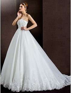 A Line Wedding Dress Dresses In Color Court Train V Neck Tull
