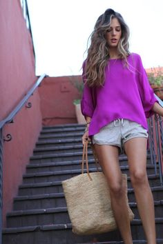 Bright Blouse + Linen Shorts #weekend #casual #beach #vacation #outfit #vacay