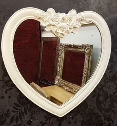 Heart Shape Wall Mirror Ornate Frame French Engrved Rose Design 88x84cm Cream #Unbranded #Modern