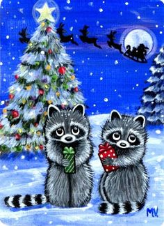 Original Raccoon Winter Christmas Presents Snow Tree Full Moon Santa ACEO Print | eBay