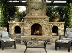 Outdoor Fireplace Designs - Patios and outdoor patios provide homeowners with additional room and entertaining space during the warm weather months. Extend the outdoor season in autumn and winter by adding an outdoor fireplace in the landscape Outdoor Stone Fireplaces, Outdoor Fireplace Designs, Backyard Fireplace, Fireplace Ideas, Fireplace Outdoor, Fireplace Pictures, Propane Fireplace, Wood Fireplace, Fireplace Filler