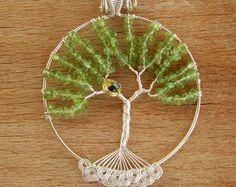 Abrigo del árbol de la vida collar peridoto árbol de la vida colgante con nido y raíces árbol genealógico, Peridot de árbol de alambre alambre de regalo mamá
