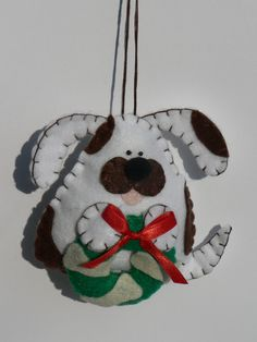 Felt Dog Ornament  White and Brown by FeltLikeIt1 on Etsy, $12.00