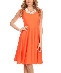 Coral Ruffle Sleeveless Dress #zulily #zulilyfinds