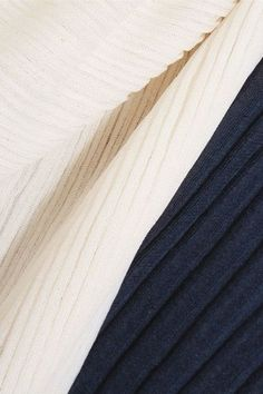 Marni - Two-tone Plissé Silk And Cotton-blend Top - Navy - IT