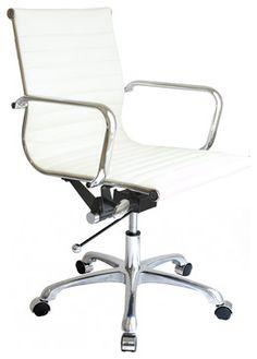 Laura Davidson SOHO Ribbed Management Chair, White midcentury-task-chairs