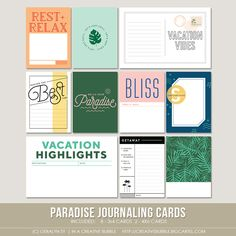 Paradise Journaling Cards (Digital) - tropical themed designs for Project Life Life Journal, Journal Cards, Journal Ideas, Bullet Journal, Project Life Travel, Pocket Scrapbooking, Scrapbooking Ideas, Passport Template, Project Life Freebies