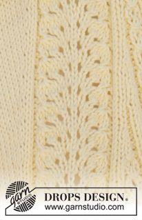 """Gebreid DROPS vest met kantpatroon, raglan en V-hals van """"Paris"""". Maat: S - XXXL. ~ DROPS Design"""