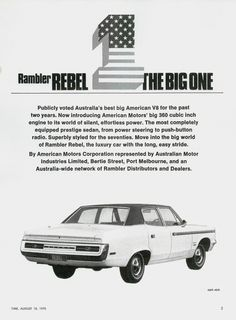 Rambler Rebel...being different was cool in the 1960s and early 1970s! www.zimmermotors.com