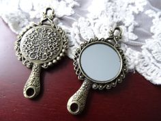 1 Vintage Style Flower Detailed Mirror Pendant Antique by BuyDiy, $3.98