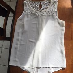 Delicate white tank with lace top! Super cute white sheer tank with lace top! The back has a button to make the shirt look more fitted but can be unbuttoned to make looser! There are some makeup stains on the inside of the neckline but not noticeable when worn ! Tops Tank Tops