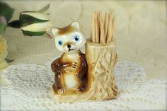 Adorable Little Porcelain Squirrel Toothpick Holder
