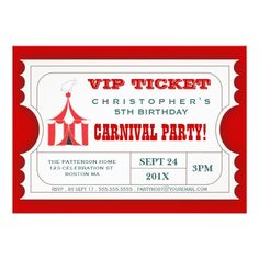 A fun design in the form of a VIP Admission ticket, features a cute elephant atop the big top circus tent and contains all the event info in an easy to customize format.  A great way to build the excitement of your guests as they anticipate the carnival or circus themed birthday celebration that's planned for your son or daughter!