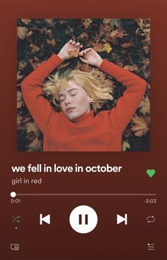 ✰ we fell in love in october ✰ By: girl in red Song Lyrics Wallpaper, Music Wallpaper, Photo Wall Collage, Picture Wall, We Fall In Love, Falling In Love, Red Song, Images Murales, Music Collage