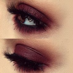 Burgundy eye make-up