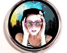 Woman in Rave Glasses Pill box Pillbox Case Holder - Visionary Festival Artwork - Pop - Psychedelic - Surreal - Celestial - Guitar Picks