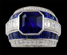 Platinum Diamnd & Sapphire Ring - Yafa Jewelry