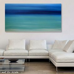 Large 48 x 24 Abstract Seascape Painting - Original Modern Minimalist Ocean Canvas Acrylic Wall Art Decor - Blue, Turquoise- Caribbean Dream